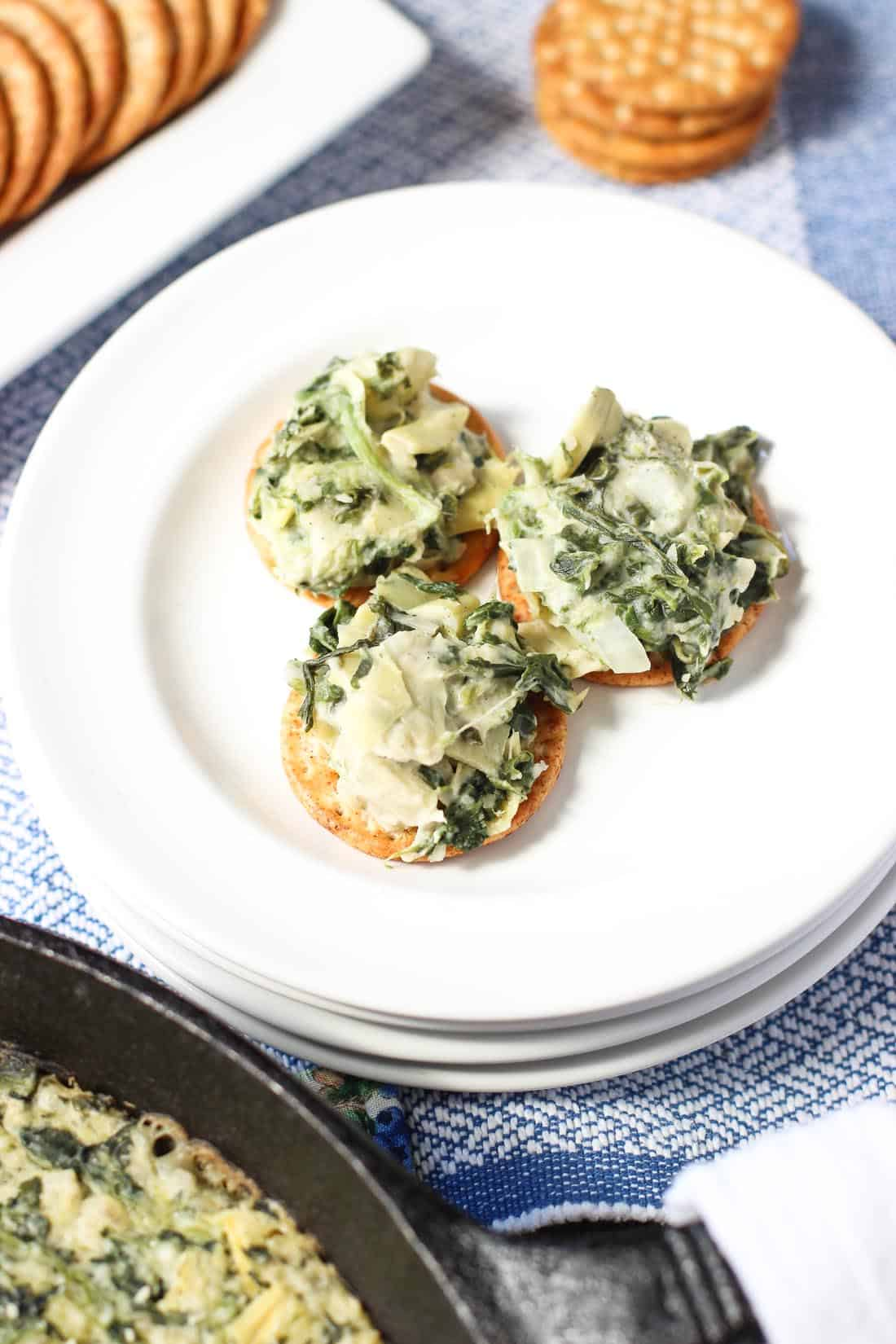 Healthier Spinach Artichoke dip - a creamy and lightened up version of an appetizer and Game Day favorite! mysequinedlife.com