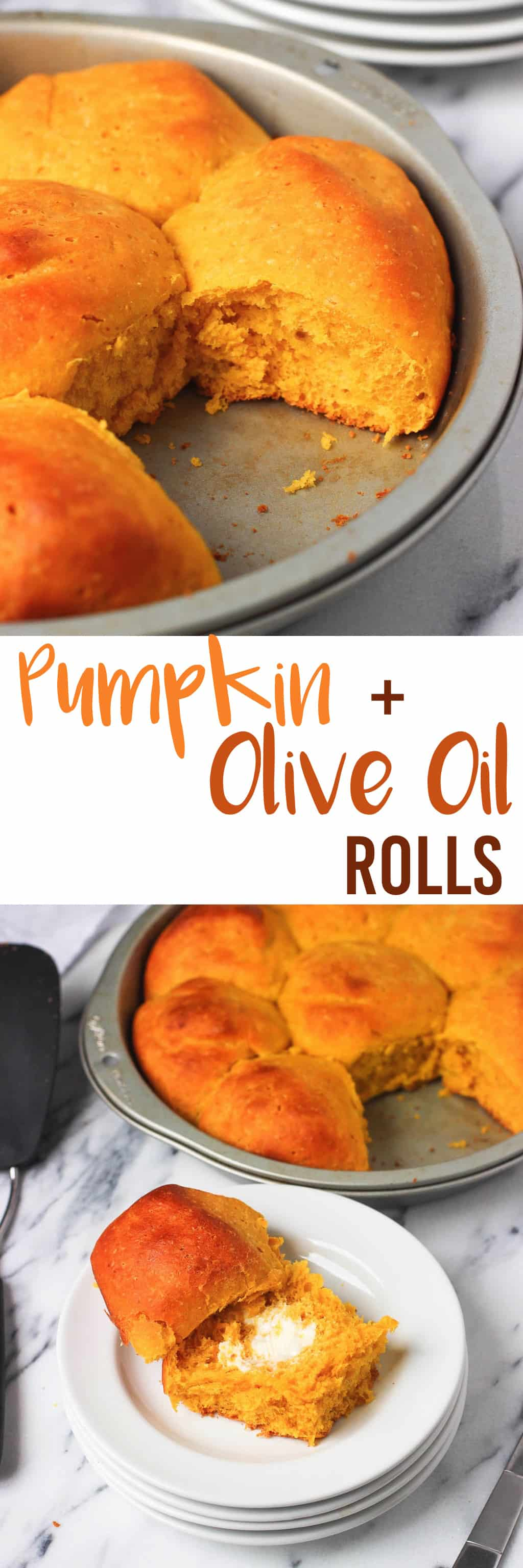 Pumpkin Olive Oil Rolls - tender and fluffy dinner rolls featuring pumpkin puree and olive oil! mysequinedlife.com