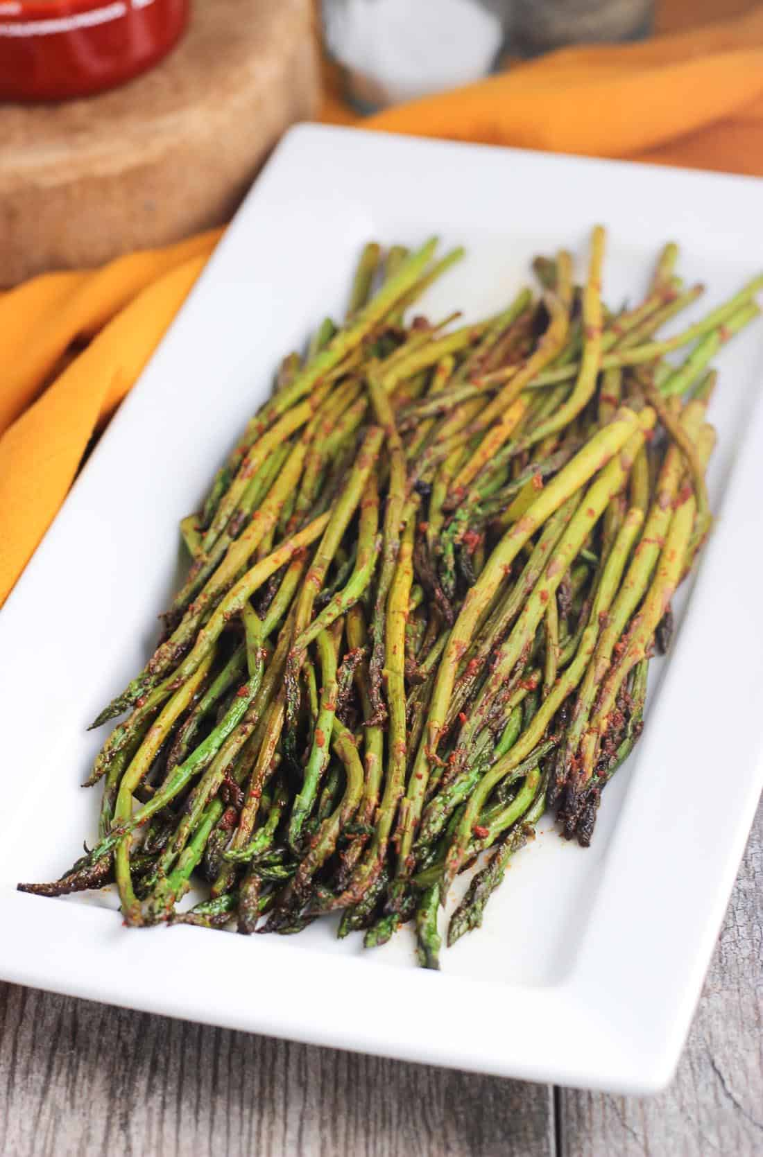 Spicy stovetop asparagus is an easy and flavorful side dish recipe!