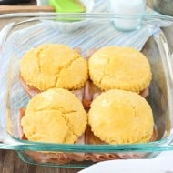 Cornmeal Biscuit Ham Sandwiches with Honey Mustard Sauce
