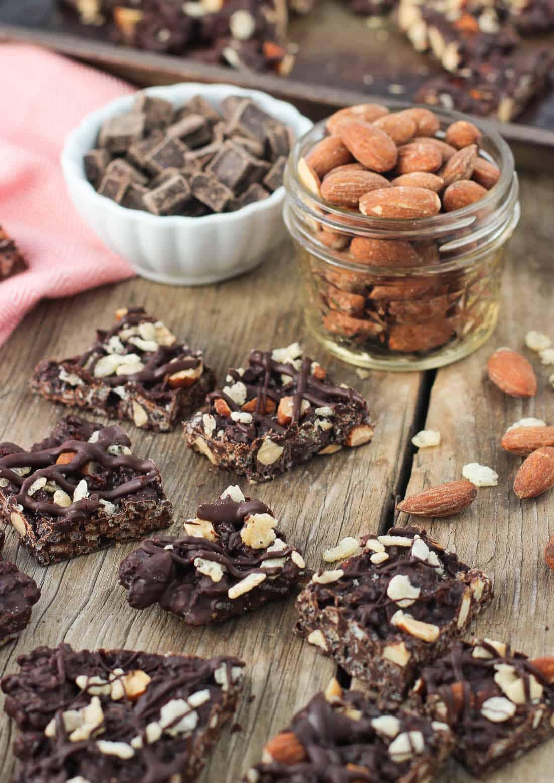 This crunchy dark chocolate almond bark is an easy three ...