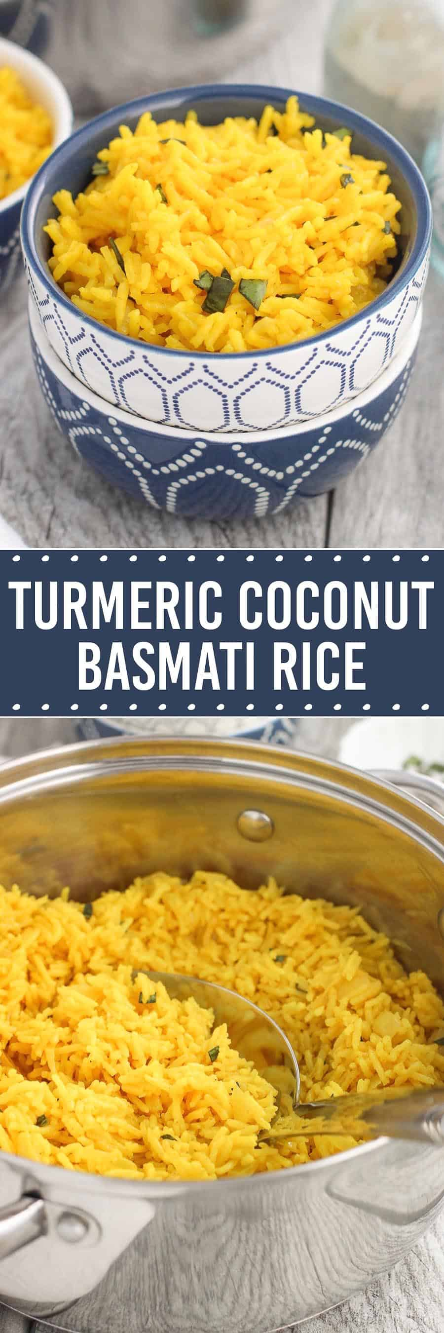 This turmeric coconut basmati rice is a flavorful rice side dish recipe that's easy to make! Garlic, ginger, and onion are sautéed and cooked with basmati rice and turmeric in a coconut milk/water mixture for a creamy dish, and topped with chopped fresh basil for serving.