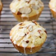 Lemon Almond Ricotta Muffins with Almond Glaze
