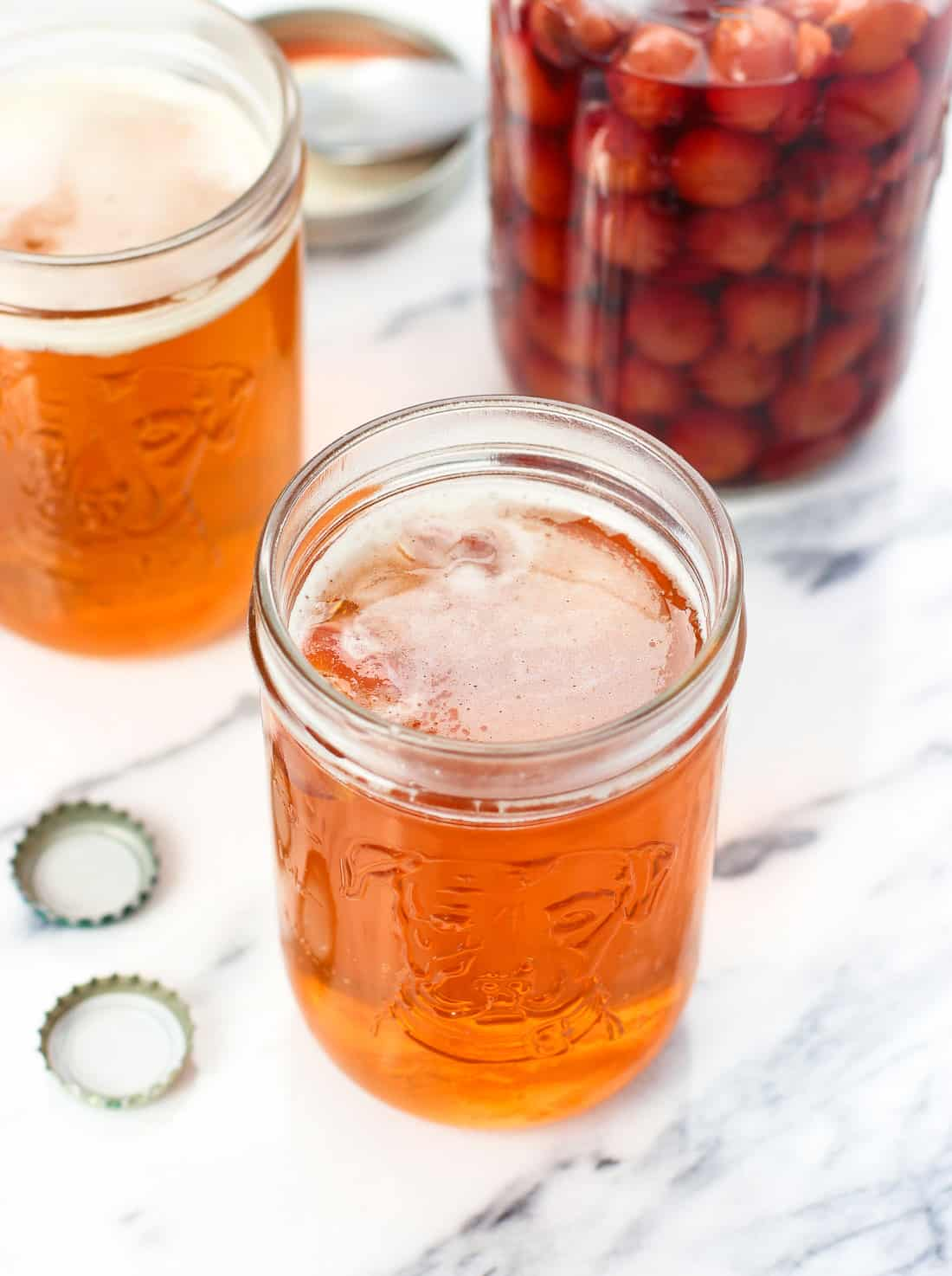 This maraschino snakebite is a fun beer and cider drink with a twist. Homemade maraschino cherries (and some of their liquid) are added for an extra layer of flavor.