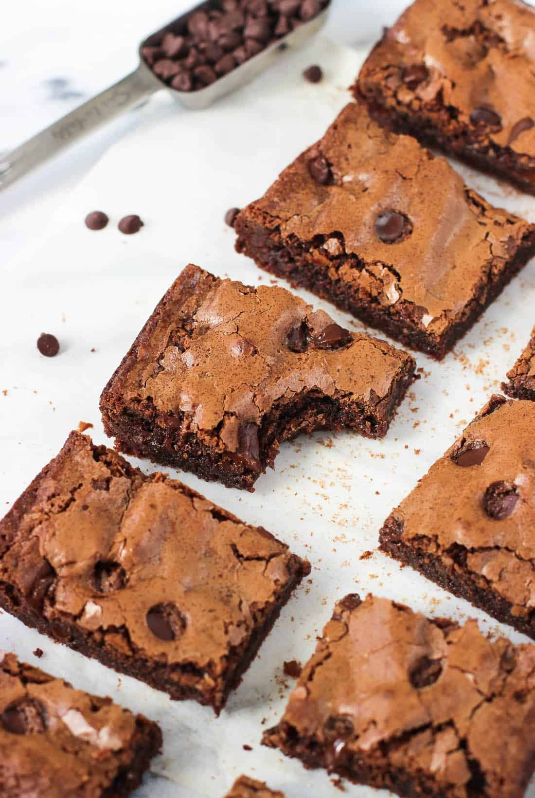 This recipe for one bowl small-batch brownies makes just ten average-sized brownies, making them perfect for those times you'd like to indulge in moderation. These brownies are fudgy and feature the classic shiny, crackly tops.