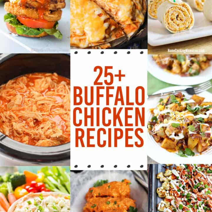25+ Buffalo Chicken Recipes - perfect meal and appetizer recipes for Game Day (or anytime)! Dips, bites, sandwiches, pizza, pasta, and more.