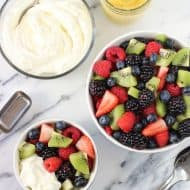 Fruit Salad with Mimosa Whipped Cream