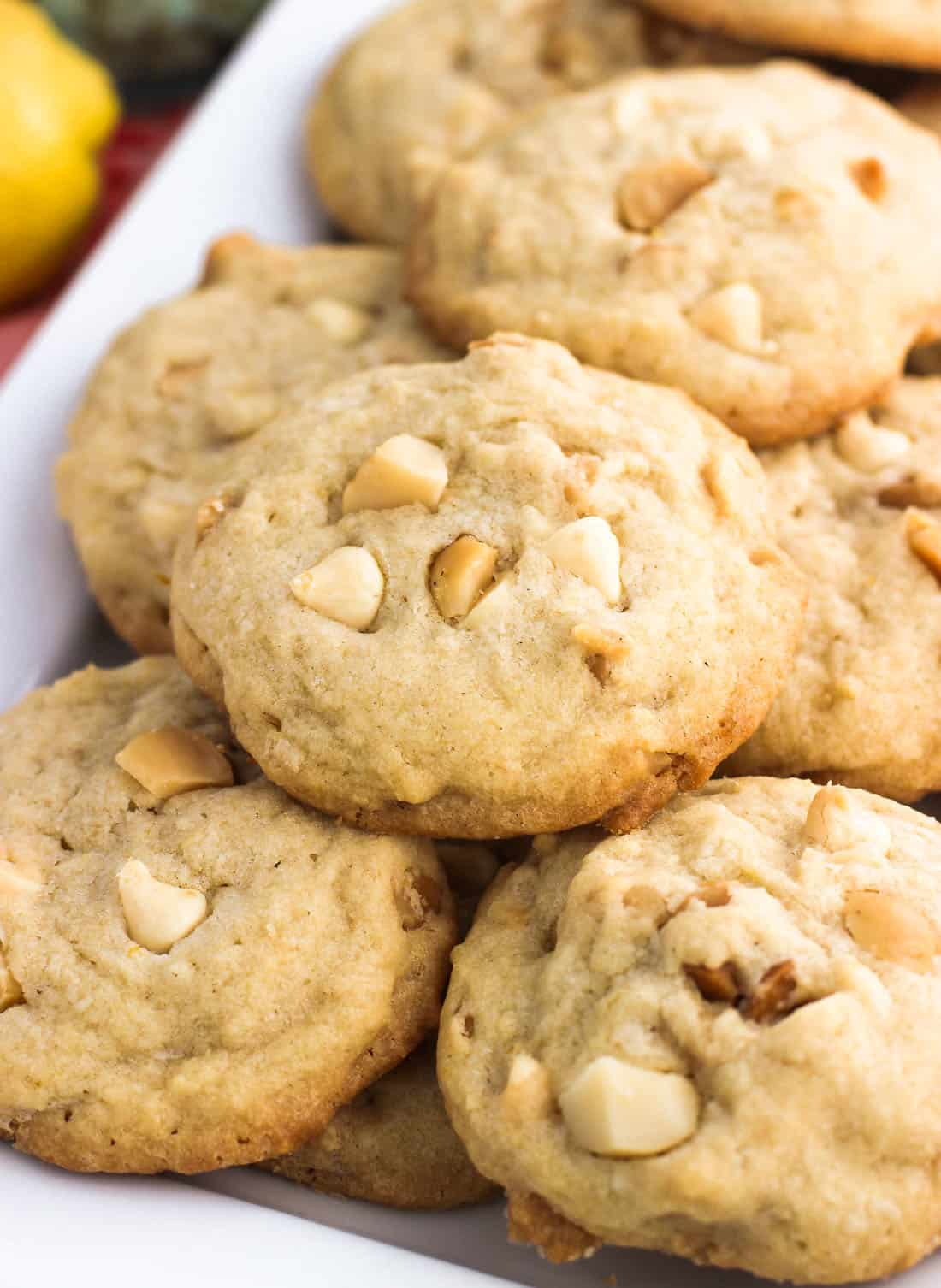 These lemon macadamia nut cookies are ultra chewy with a perfect hint of citrus, toasted macadamia nuts, and white chocolate chips.