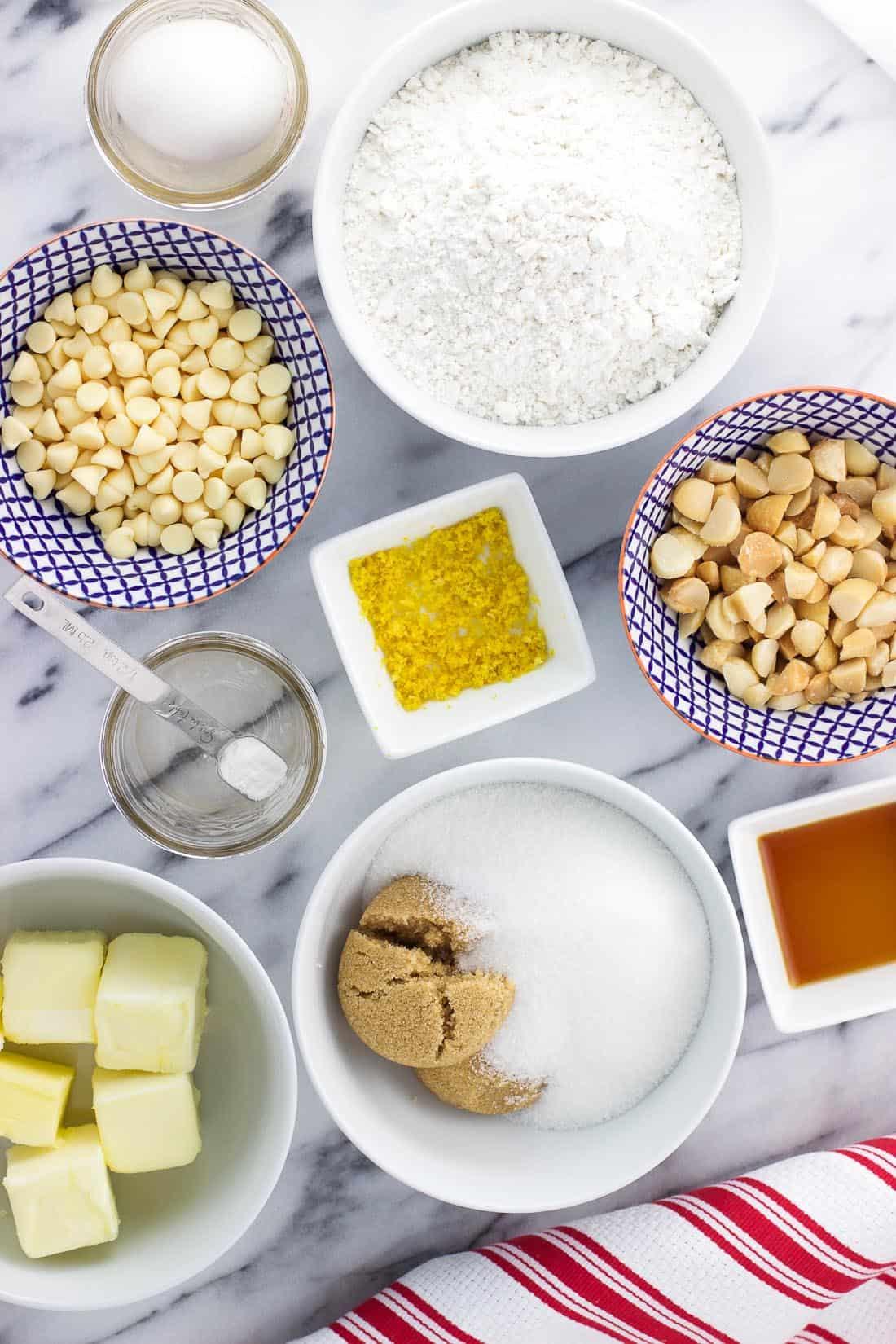 Bowls of cookie ingredients