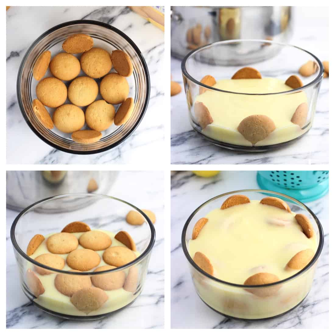 The stages of assembling lemon pudding and wafers in a glass bowl.