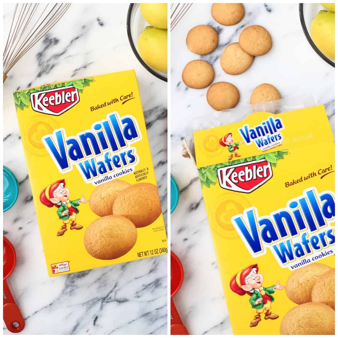 A box of Keebler Vanilla Wafers (left) and the wafers spilling out of the box (right).