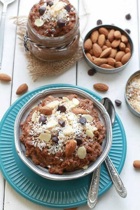 Chocolate Coconut Almond Overnight Oats from Life Made Sweeter