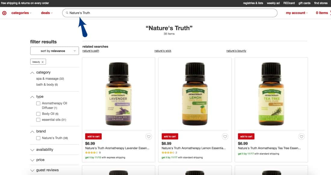 Nature's Truth Essential Oil at Target