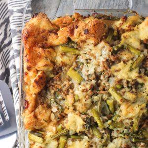 asparagus asiago sausage strata