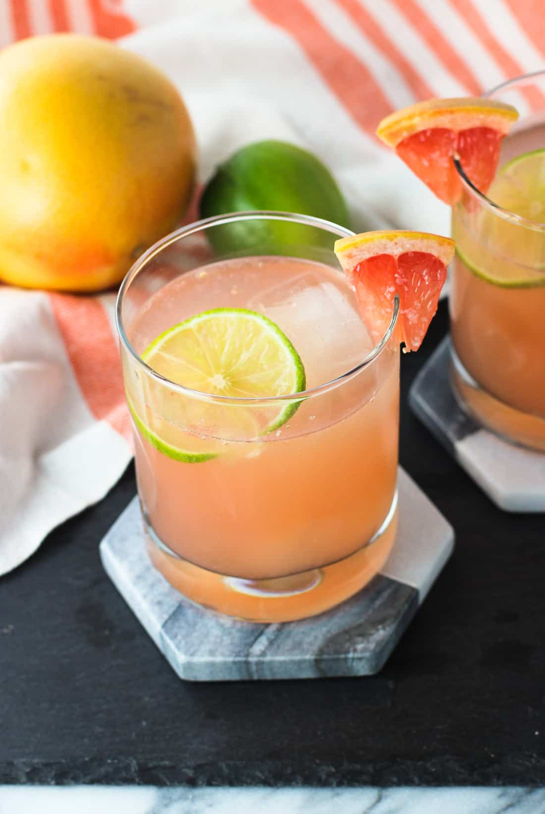 A champagne paloma is a tequila-based cocktail with fresh grapefruit and lime juices, as well as a glug-glug of champagne. This cocktail is on the tart side with a slight fizziness from the champagne.