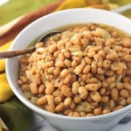 Slow Cooker White Beans with Whole Grain Mustard Beer Sauce