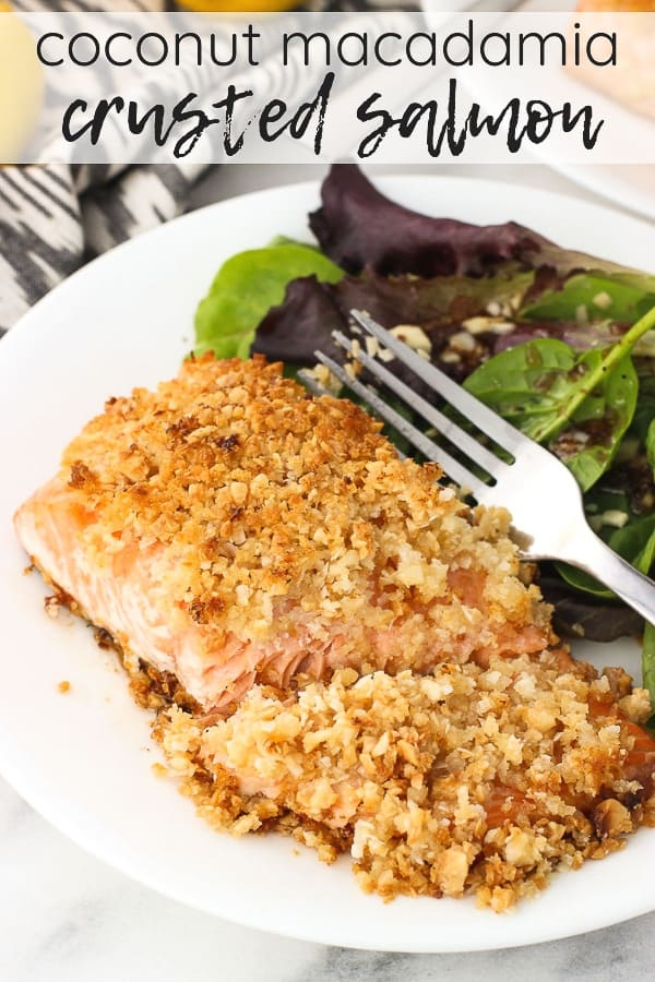 Coconut Macadamia Crusted Salmon is a quick and healthy main dish recipe, featuring salmon fillets piled high with a macadamia nut, coconut, and panko topping. A brush of olive oil and a squeeze of lemon are all you need for this tasty spin on salmon!