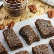 Five-ingredient cinnamon pecan chia bars are naturally-sweetened and easy to make in the food processor. They're date-based, cinnamon-spiced, and make a healthy, vegan snack.