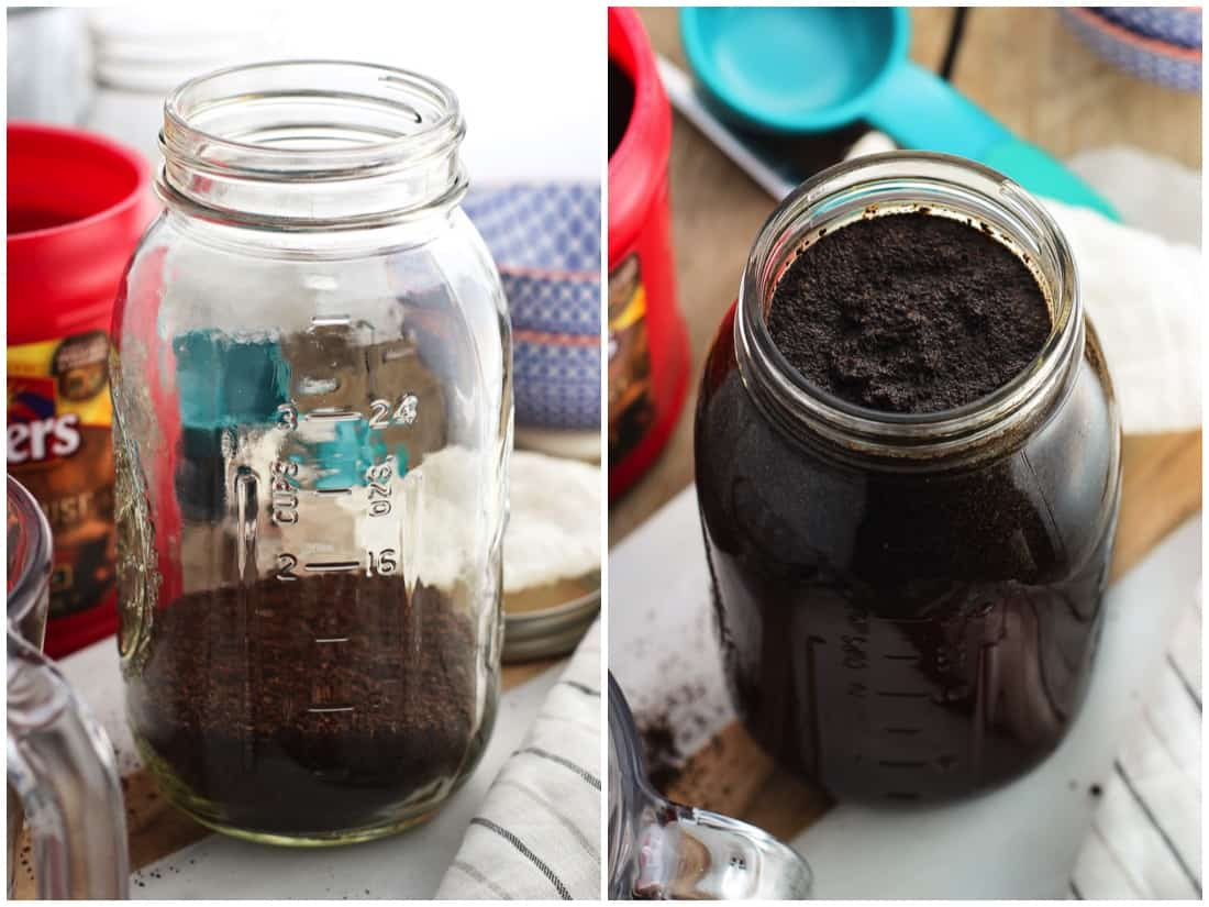 A side by side image collage of ground coffee in a large glass jar (left) and the jar with the water poured in to the top (right)