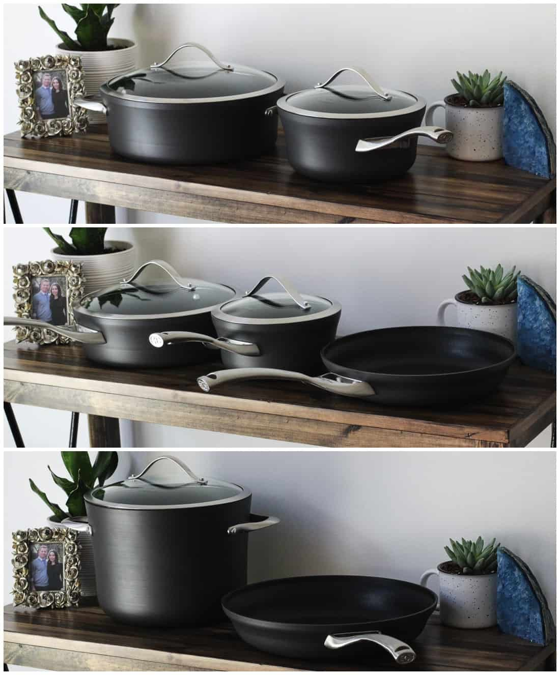 A three-image collage of various Calphalon pots and pans on a wooden desk