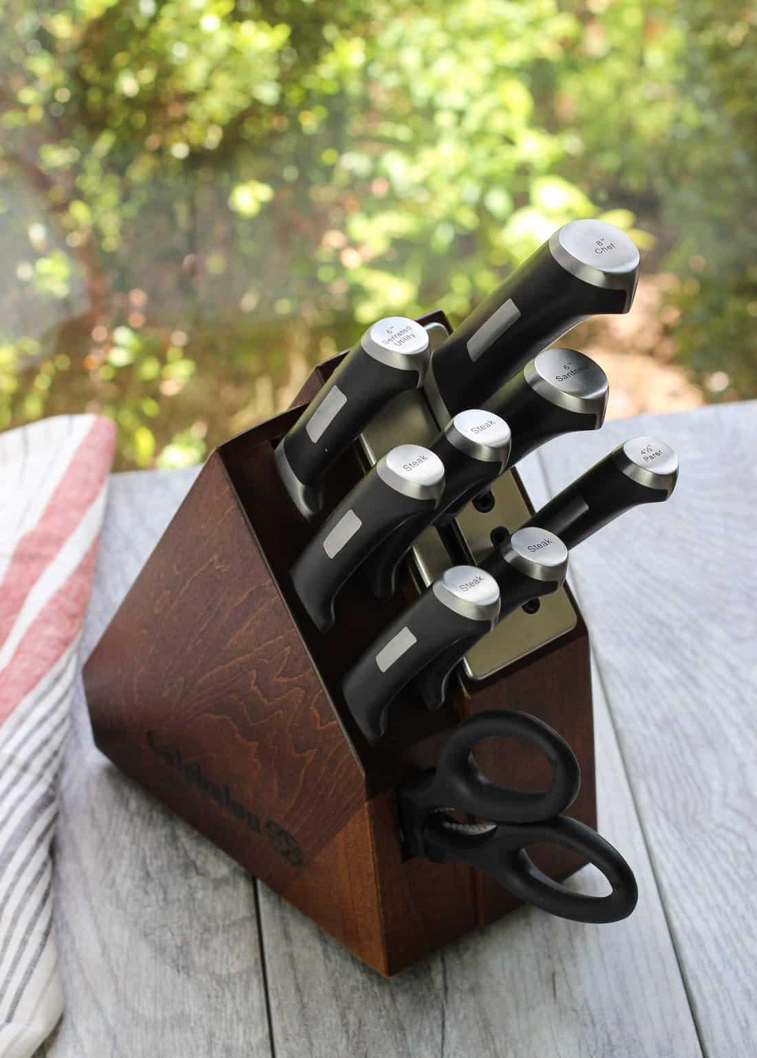 A wooden knife block set from Calphalon