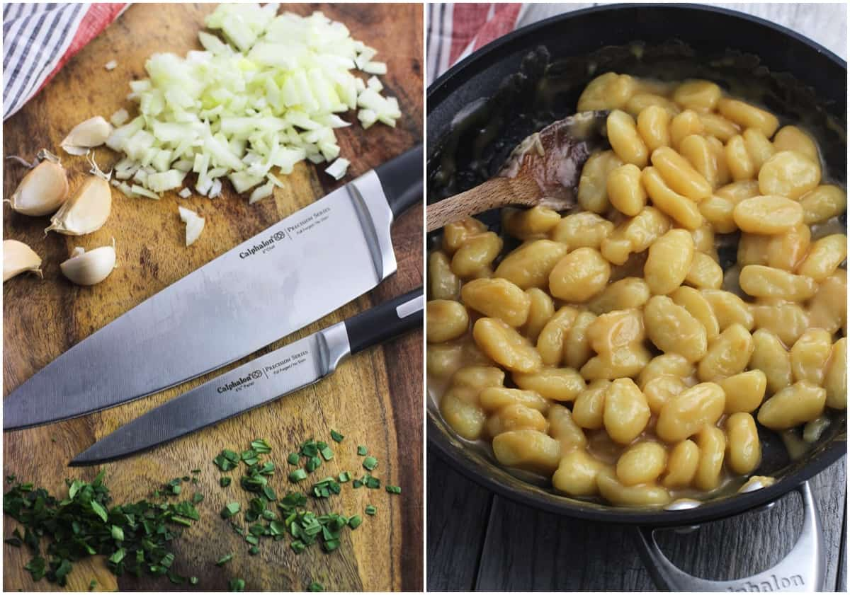 A side-by-side image showing two Calphalon knives on a wooden board with diced onion, herbs, and whole garlic cloves and a skillet of creamy gnocchi