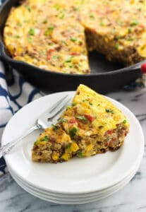 This southwestern frittata is loaded with potato, beef, rice, cheese, and more for a hearty breakfast, brunch, or anytime meal.