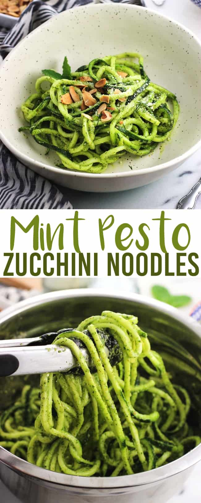 Mint pesto zucchini noodles make a refreshing side dish or main meal recipe when paired with chicken or the protein of your choice. Raw spiralized 'zoodles' are tossed with pesto made with mint, dill, and toasted almonds for an easy and healthy take on pesto pasta.