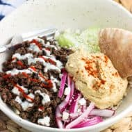 Loaded Mediterranean Beef Rice Bowl