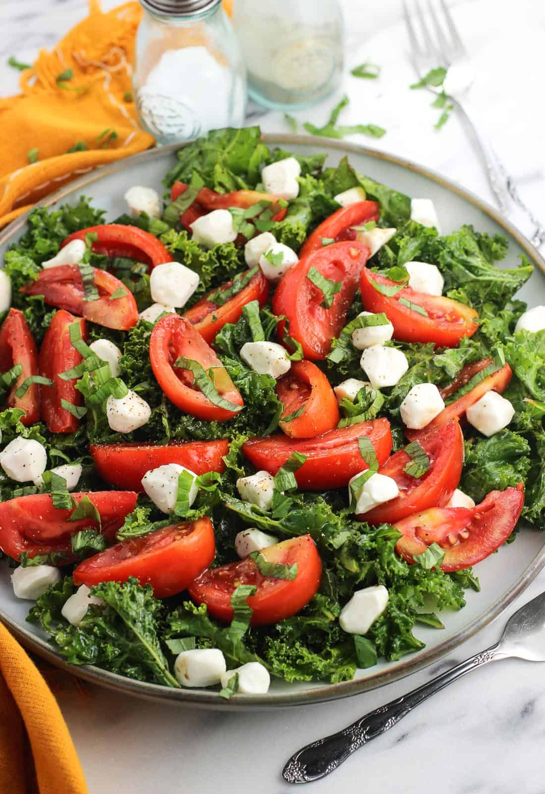 Marinated caprese salad with kale is a simple take on a classic appetizer with a boost of nutrition. Massaging the kale with olive oil and balsamic vinegar tenderizes it so it isn't so tough!