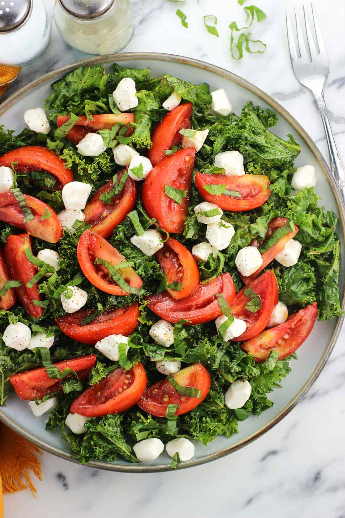 Marinated tomato and kale caprese salad is a simple take on a classic appetizer with a boost of nutrition. Massaging the kale with olive oil and balsamic vinegar tenderizes it so it isn't so tough!