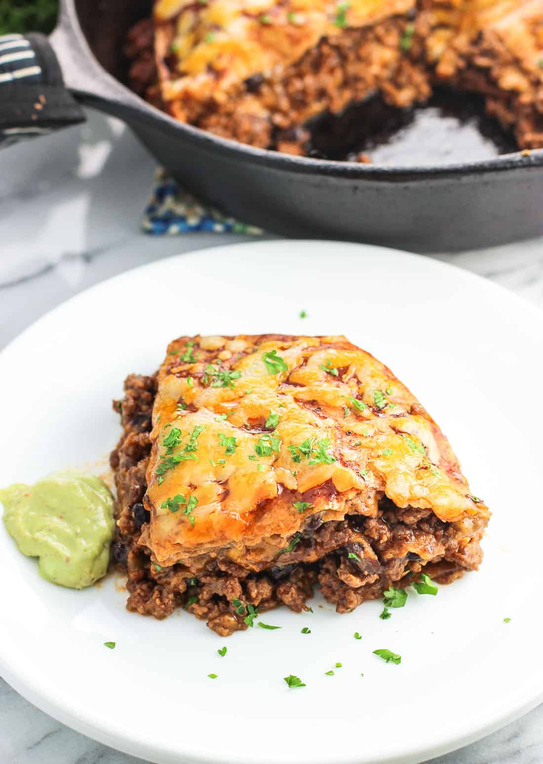 BBQ Beef Tortilla Pie is a savory, satisfying main dish perfect for weeknights. It's ready in 30 minutes and uses just five ingredients!