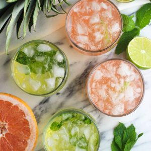 Fruity Vodka Sodas (Pineapple Mint and Grapefruit Lime)