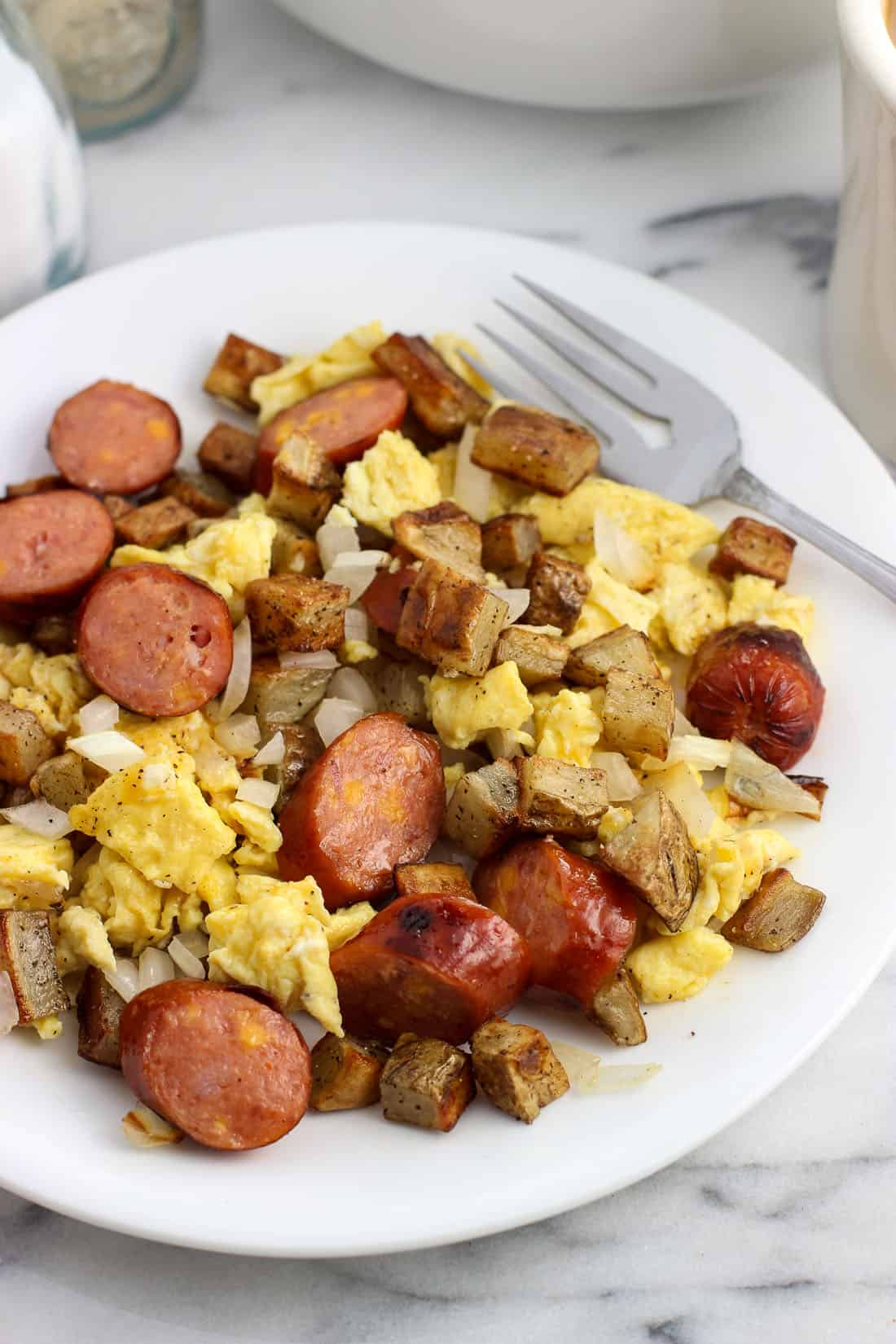 Grilled Smoked Sausage Breakfast Egg Scramble