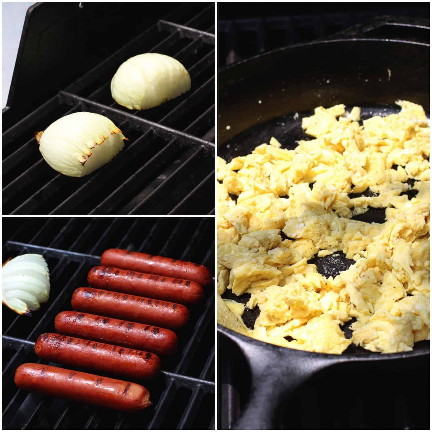 Onions, sausages, and a cast iron pan fill of scrambled eggs all on the grill.
