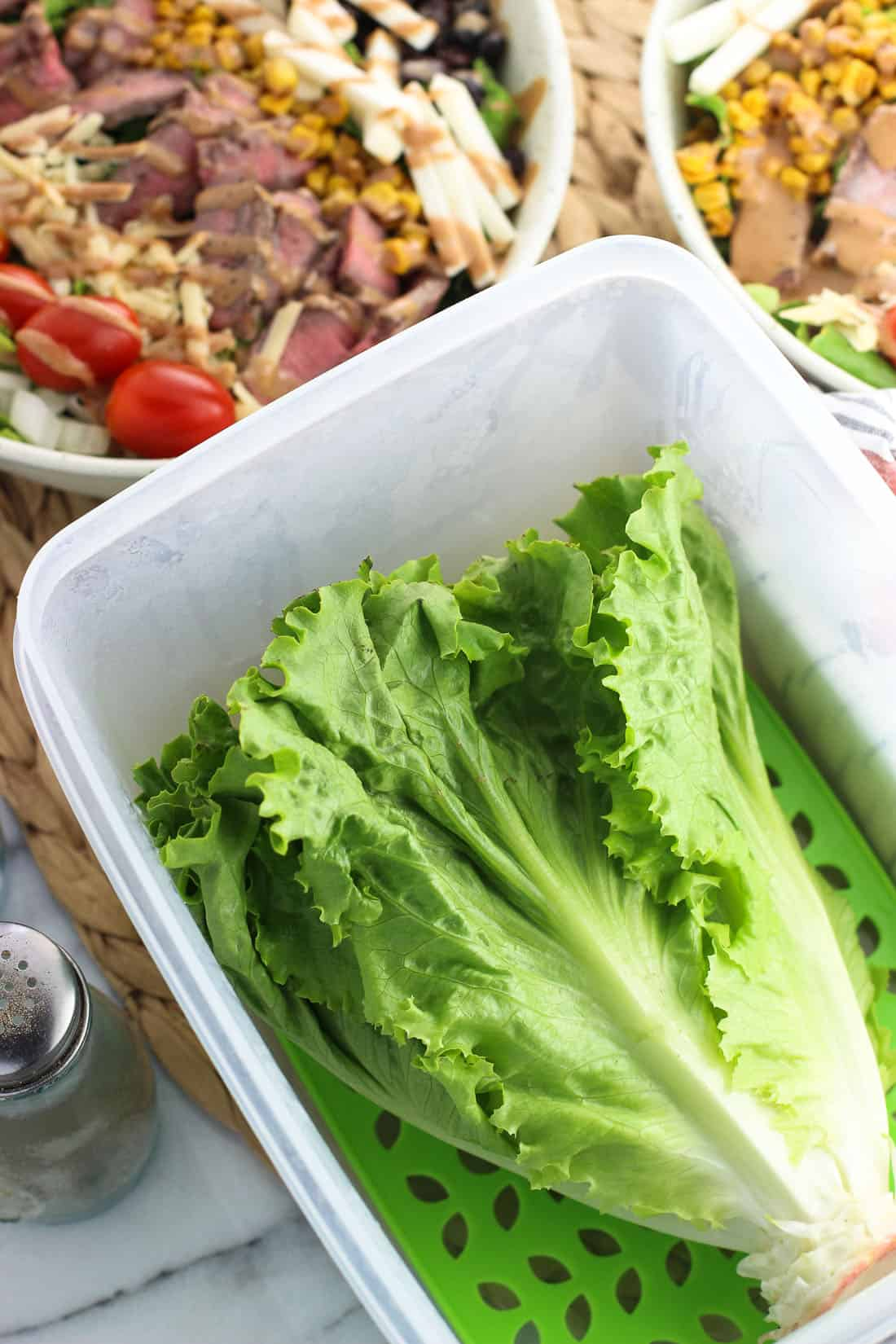 A head of lettuce in a plastic produce saver container in front of assembled salads.