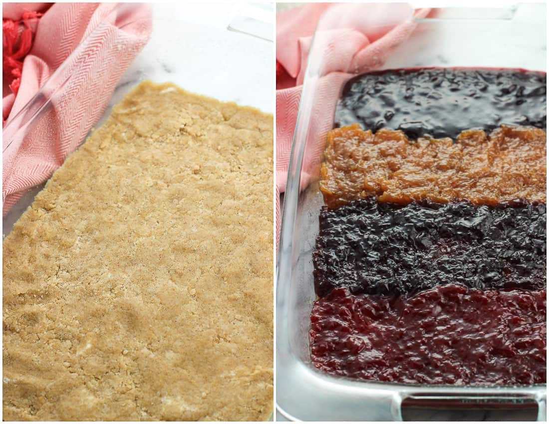 Easily customize the flavor of these jam bars by picking your favorite jam, jelly, or fruit spread! These bars feature a cinnamon-spiced crumb topping and are perfect for using up small amounts of jam taking up space in the fridge.