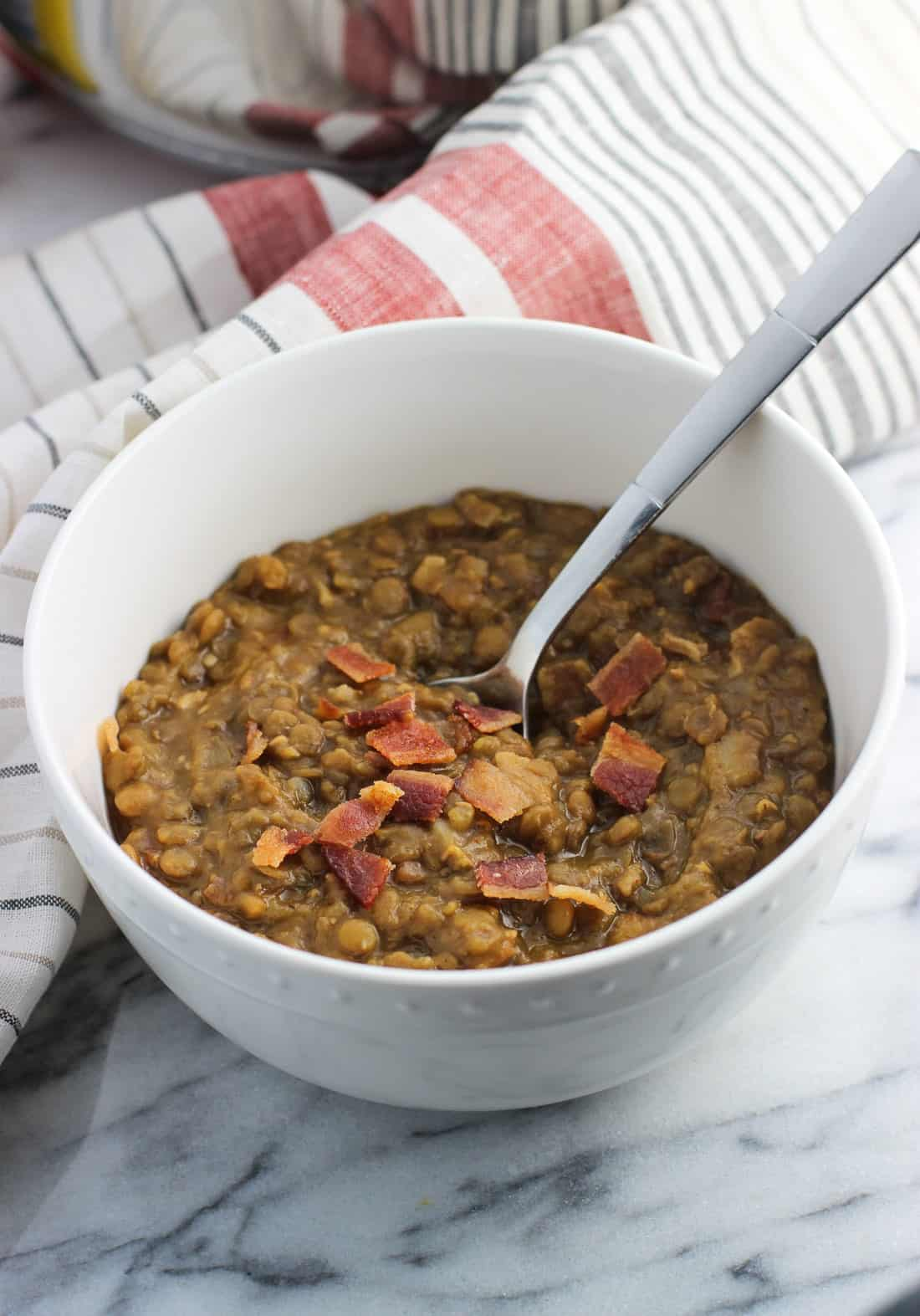 A pot of spicy lentil soup with bacon is a warming and healthy meal option fit for chilly nights or anytime. Old Bay seasoning adds a kick, with bacon rounding out the flavor for this satisfying soup recipe.