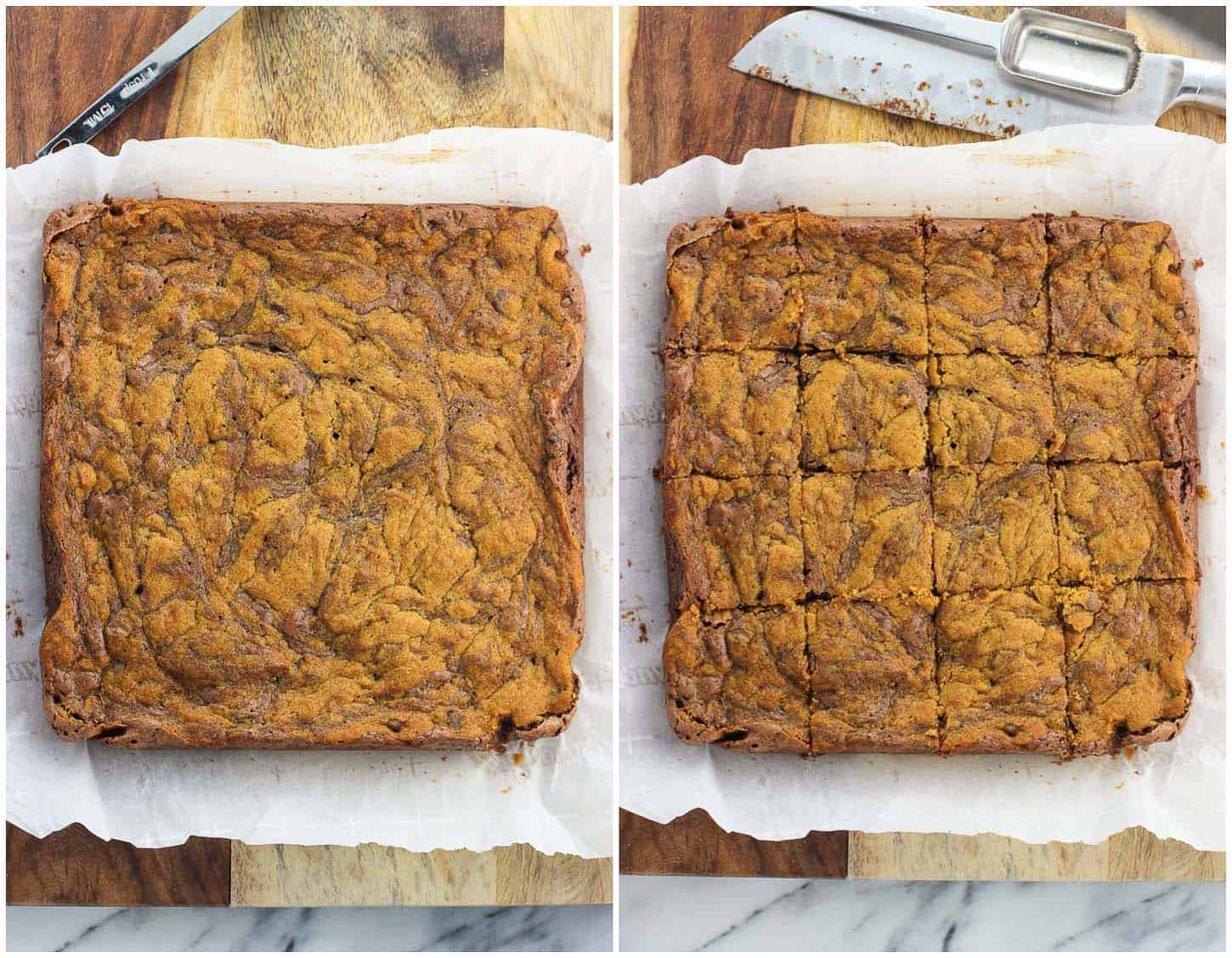 A side-by-side image collage of the slab of brownies on a cutting board before being sliced (left) and after being sliced into sixteen equal pieces (right)