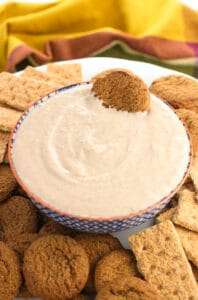 Honey Apple Butter Greek Yogurt Dip is a healthy and versatile snack made in minutes with just four ingredients. Perfect for dipping fruit, graham crackers, and more.