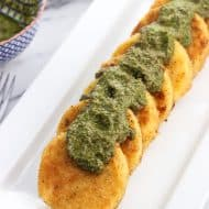 Parmesan Crusted Polenta with Pesto