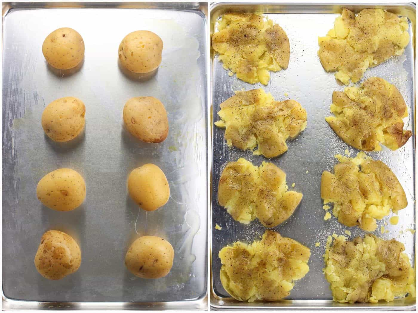 A side-by-side photo of eight boiled whole yellow potatoes on a greased baking sheet (left) and after being smashed (right)