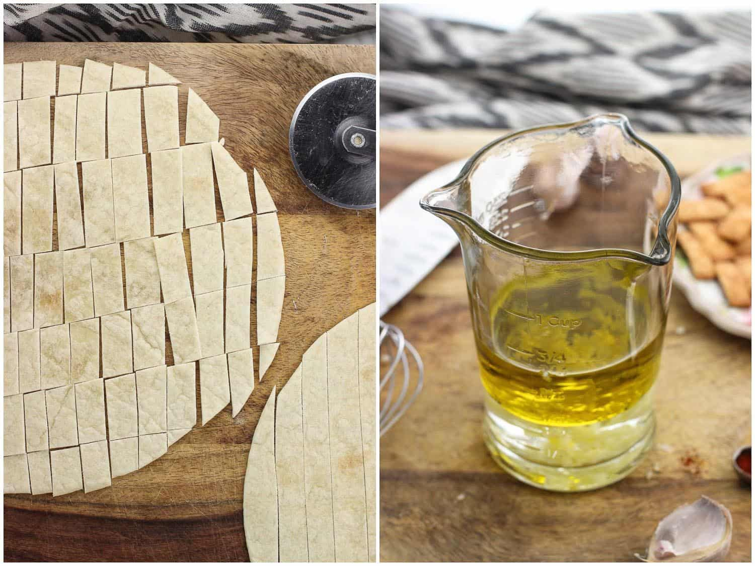 A side-by-side image of a flour tortilla cut into strips on a wooden board (left) and vinaigrette ingredients in a glass measuring cup (right)