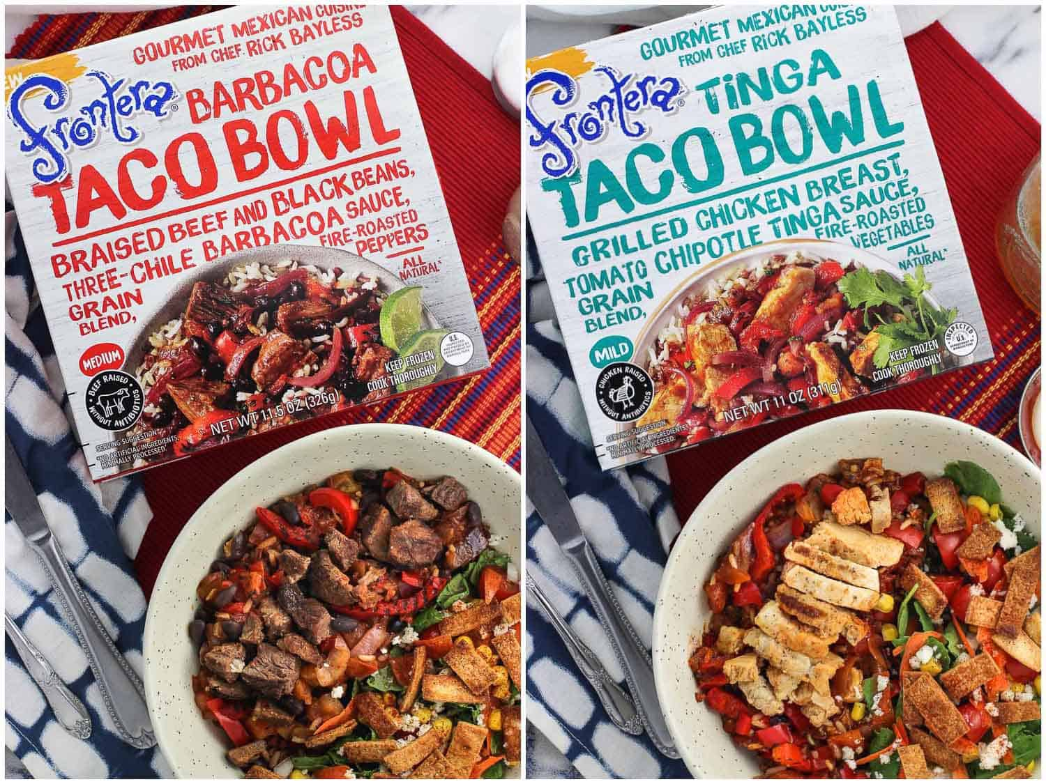 A side-by-side image of two Frontera meals and boxes: barbacoa taco bowl (left) and tinga taco bowl (right)