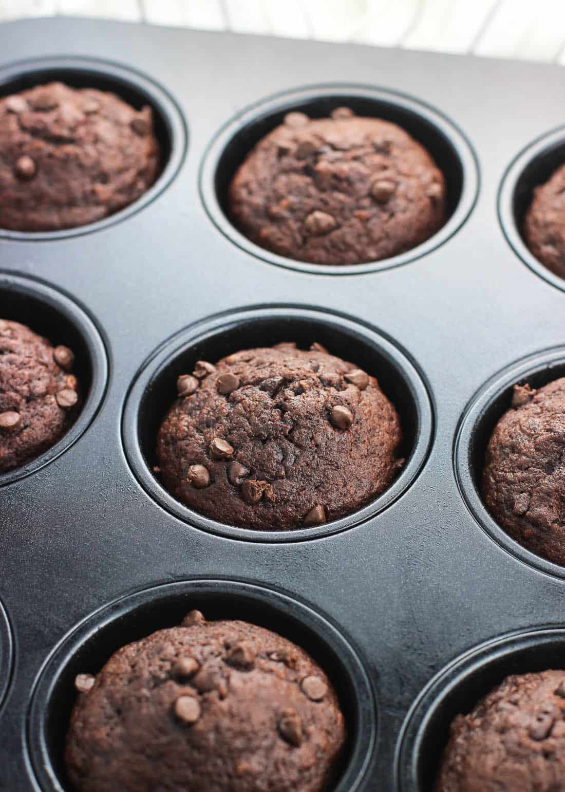 These chocolate pudding muffins are insanely moist and feature chocolate chips with a rich chocolate banana flavor. Adding pudding mix to the batter helps ensure these chocolate banana muffins stay moist for days.