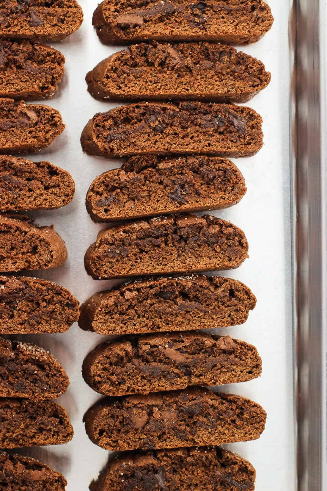 Mini Mexican Chocolate Biscotti are deep chocolate-y biscotti with a bold spice flavor coming from ground cinnamon and cayenne pepper. Topped with cinnamon sugar, these bar cookies are a great pairing for a cup of coffee or as a part of holiday cookie trays.