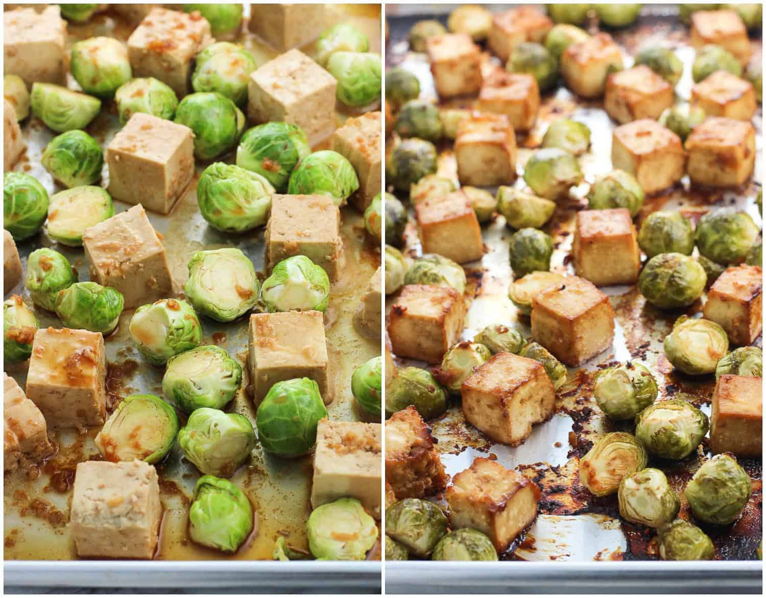 A side-by-side image of tofu and brussels sprouts on a large metal sheet pan before baking (left) and after (right)