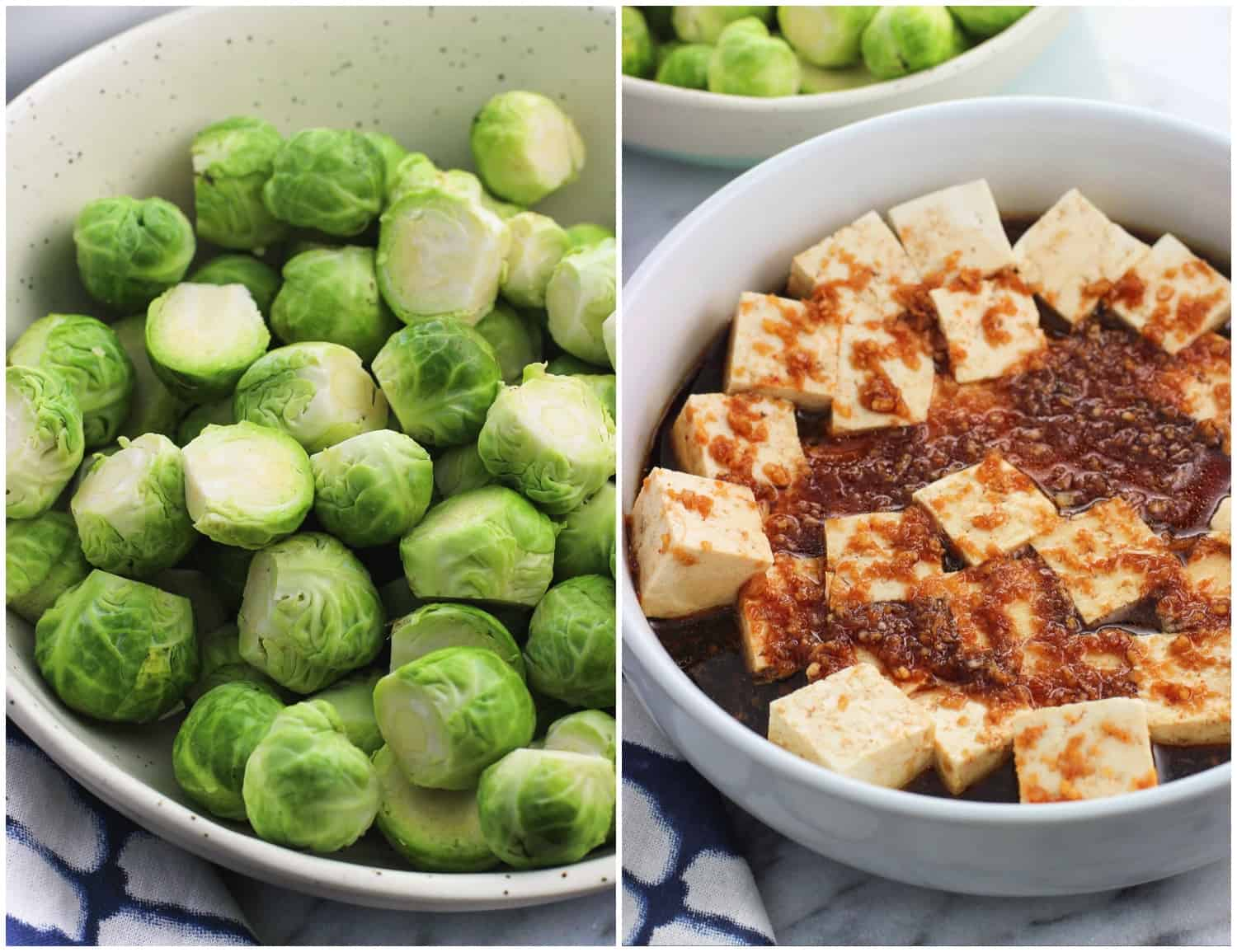 A side-by-side imagine of raw brussels sprout halves (left) and marinating cubes of tofu (right)