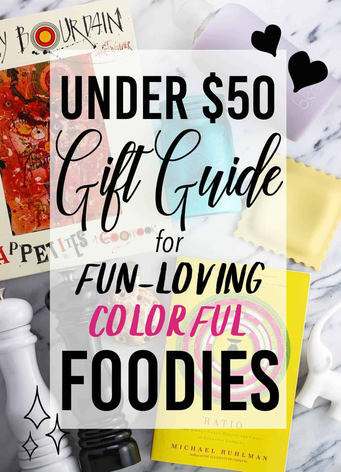 """A graphic set over various gifts reading \""""Under $50 gift guide for fun-loving colorful foodies\"""""""