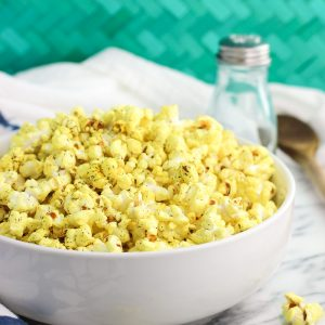 Turmeric Popcorn with Garlic and Dill